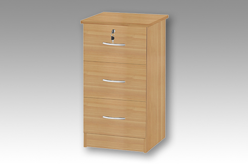 Beech 3 Drawer Bedside