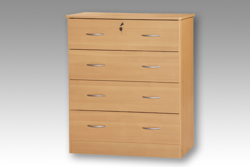 Beech 4 Drawer Bedside