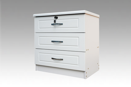 Diana White 3 Drawer Bedside