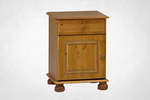 Pine 1 drawer, 1 door bedside