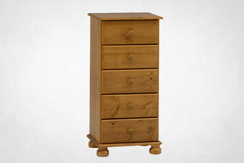 Pine 5 drawer, narrow chest