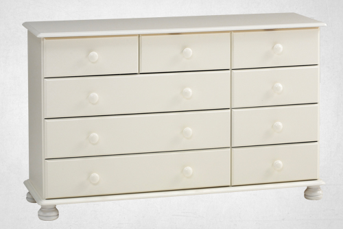 white 2+4+3 drawer chest
