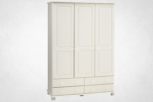 Forest White - 3 Door, 4 Drawer Robe