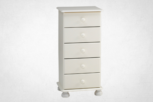 white 5 drawer, narrow chest