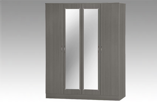 Grey 4 Door Wardrobe