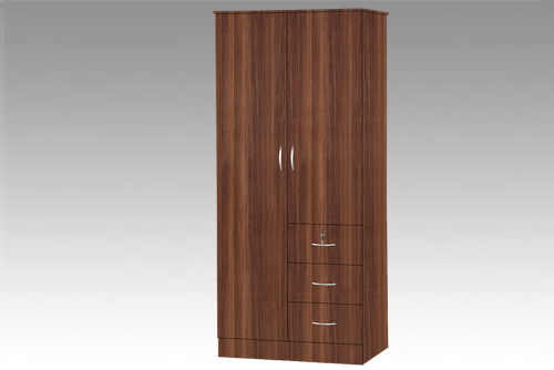 Walnut 2 Door Wardrobe with 3 Drawers Beech