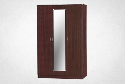 Wenge 3 Door Wardrobe with Mirror