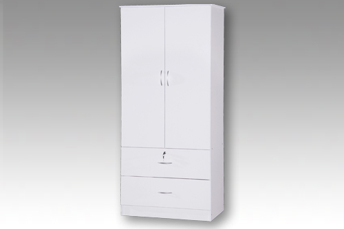 White 2 Door Wardrobe with 2 Drawers Beech