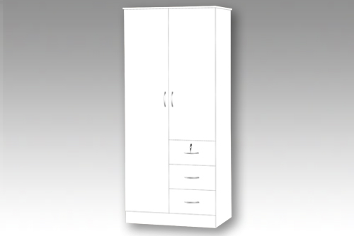 White 2 Door Wardrobe with 3 Drawers