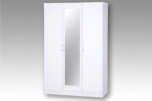 White 3 Door Wardrobe with Mirror