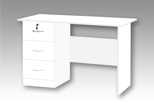 White 3 Drawer Desk
