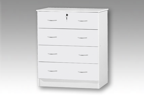 White 4 Drawer Bedside Chest