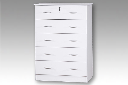 White 5 Drawer Bedside Chest