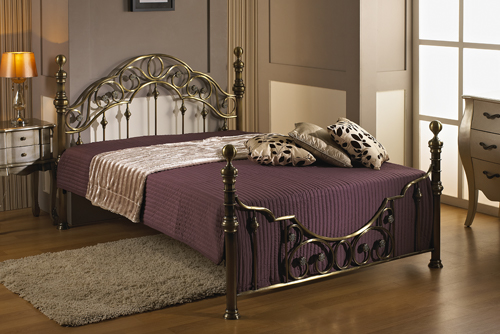 Salisbury Red Brass Metal Bed Frame